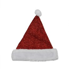 Red Metallic Santa Hat w/ Faux Fur Border
